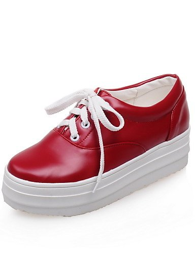 ZQ Zapatos de mujer - Plataforma - Creepers / Punta Redonda - Oxfords - Vestido / Casual - Semicuero - Negro / Rojo / Blanco , red-us10.5 / eu42 / uk8.5 / cn43 , red-us10.5 / eu42 / uk8.5 / cn43 white-us10.5 / eu42 / uk8.5 / cn43
