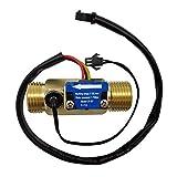 Digiten G1/2''Male Thread Water Flow Hall Sensor Switch Flowmeter Counter with Temperature Sensor 1-25L/min