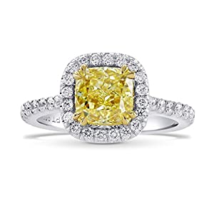 2.78Cts Yellow Diamond Engagement Halo Ring Set in Platinum GIA Certified Size 6