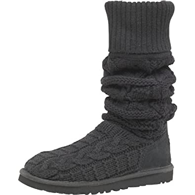 5212e160d01 Ugg Womens Over The Knee Twisted Cable Knit Boots Black - 4.5 UK 4.5 ...