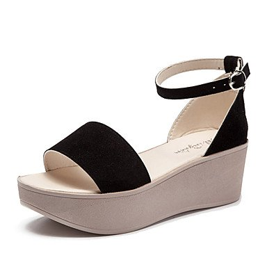 RUGAI-UE Moda de Verano Mujer sandalias casuales zapatos de tacones PU Confort caminar al aire libre,Almendros,US4-4.5 / UE34 / REINO UNIDO2-2.5 / CN33 Black