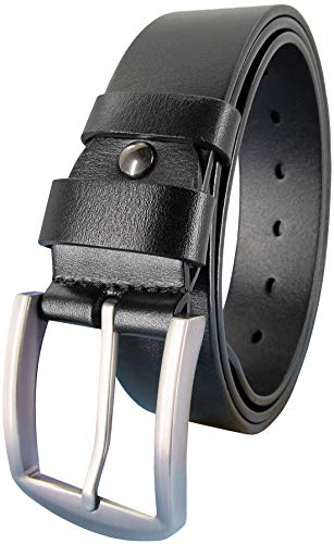 (Ledamon Men's 100% Full Grain Leather Belt Durable Genuine Leather Belt 1.5