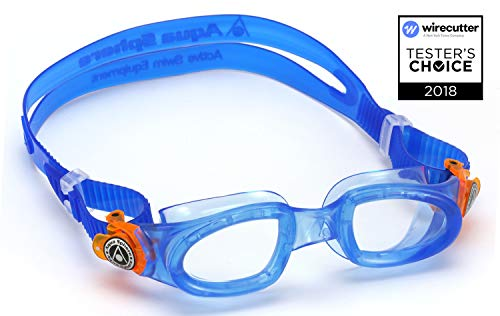 Aqua Sphere Moby Junior Swim Goggles with Clear Lens (Blue). UV Protection Anti-Fog Swimming Goggles for Kids