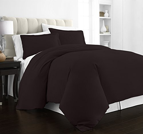 Beckham Hotel Collection Luxury Soft Brushed 2100 Series Microfiber Duvet Cover Set - Hypoallergenic - Full/Queen - Brown