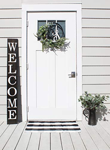 Smith Farm Co Welcome Sign for Front Door 5 ft Solid Wood Rustic Front Door Decor Farmhouse Porch Decorations (Classic Black)