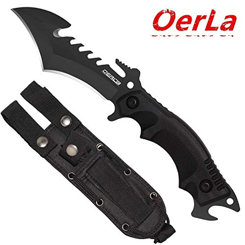 (Oerla TAC DB-0016 Hook Fixed Blade Outdoor Duty Knife 420HC Full Tang Stainless Steel Field Knife Camping Knife with G10 Handle/Punch Point/Bottle Opener and Tactical Nylon Sheath (Black))
