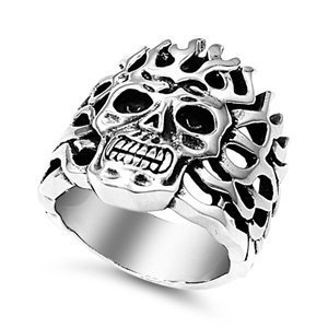 Aztec Road Wrap - JewelryVolt Stainless Steel Ring Skull Native Aztec Mayan emon Flame Headdress Polished & Oxidized Casting (D 13)
