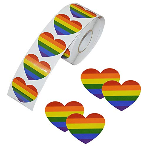 Rainbow Ribbon Stickers, 500 Pieces Love Gay Pride 7 Colors Stripes Heart Shaped Roll Tape for Gay Pride Celebrations (Heart)
