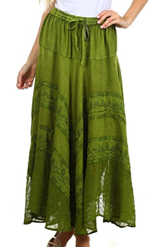 Sakkas 13222 Ivy Maiden Boho Skirt - Green - One Size Plus