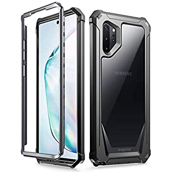 Poetic Galaxy Note 10 Plus Rugged Clear Case, Full-Body Bumper Cover, Support Wireless Charging, Without Built-in-Screen Protector, Guardian, Case for Samsung Galaxy Note 10+ Plus 5G, Black