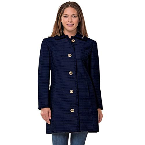 Tweed Peacoat - Sail to Sable Womens Tweed Button Front Coat Navy XXS