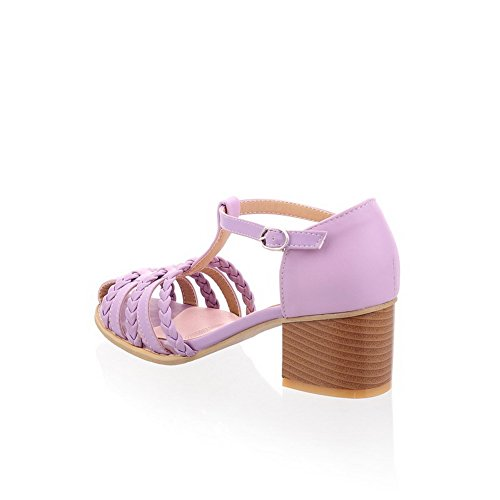Lukket Tå Sandaler Med Tykk Materiale Lilla Pu Kitten Faste Hæler Voguezone009 Mykt Kvinners 5paqw4gxZ