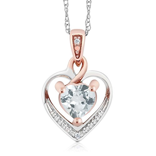 Gem Stone King 10K White and Rose Gold Sky Blue Aquamarine and Diamond Heart Shape Pendant Necklace (0.38 cttw, With 18 inch Chain)