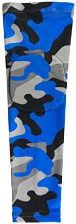 BESPORTBLE Kompressionsarmmanschette Sport Ellenbogenpolster Ellenbogenärmel Tarnung Stützkissen UV-Schutz Armstulpen für Sportbasketball Blau