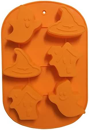 Halloween Ghosts Silicone Candy Jello Baking Mold (Orange)