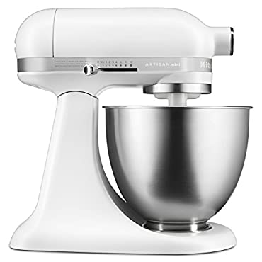 KitchenAid KSM3311XFW Artisan Mini Series Tilt-Head Stand Mixer, 3.5 quart, Matte White