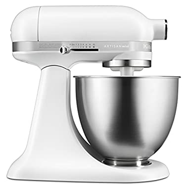 KitchenAid KSM3311XFW Artisan Mini Series Tilt-Head Stand Mixer, 3.5 quart, Matte White
