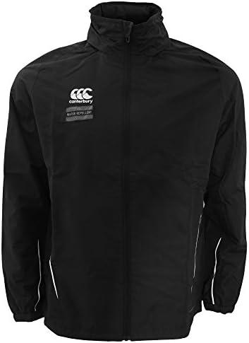 (カンタベリー) Canterbury メンズ チーム フルジップ 耐水 レインジャケット トレーニングウェア ラグビー 男性用 (XL) (ブラック/ホワイト)