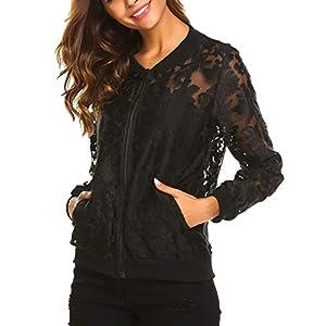 Zeagoo Women's Sheer Jacket Long Sleeve Stand Collar Zip Up Floral Organza Sexy Casual Jacket