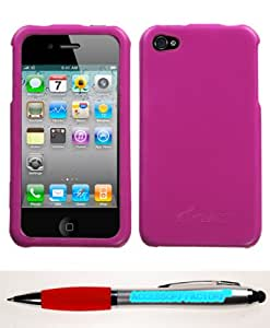 Accessory Factory(TM) Bundle (Phone Case, 2in1 Stylus Point Pen) APPLE iPhone 4S 4 Hot Pink Executive Cover