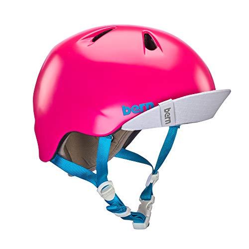 BERN - Kid's Nina Helmet, Satin Hot Pink w/Flip Visor, S/M