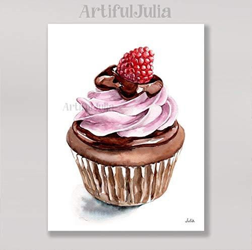 (Raspberry cupcake art print of watercolor painting(NO FRAME) 5
