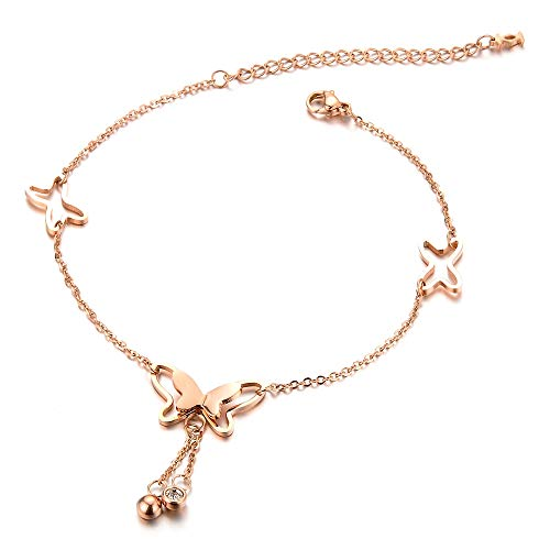 Ring Ankle Bracelet - BAFOME 18k Rose Gold Butterfly Stud Earrings Necklace Ring Set for Women Girl (Ankle Bracelet)