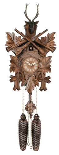 River City Clocks 869-15 Eight Day Hunter's Cuckoo Clock with Hand-Carved Maple Leaves, Rifles, and Buck, 15-Inch Tall