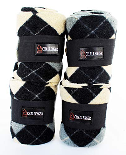 (CHALLENGER Horse Tack Grooming Leg Set of 4 Polo Wraps w/Argyle Pattern 95R28)