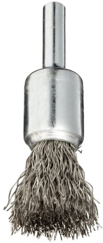 1 Crimped Wire End Brush - Weiler Wire End Brush, Solid End, Round Shank, Stainless Steel 302, Crimped Wire, 1/2