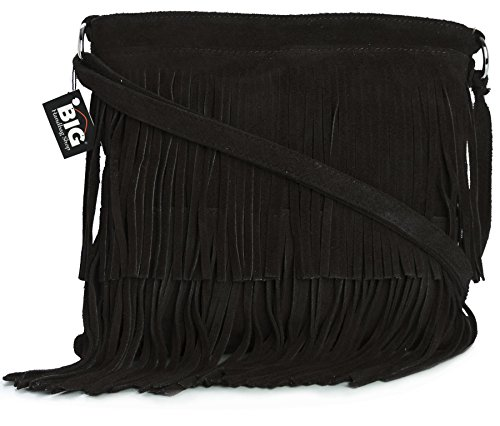 Big Handbag Shop Womens Suede Leather Tassle Fringe Shoulder Bag (Black)