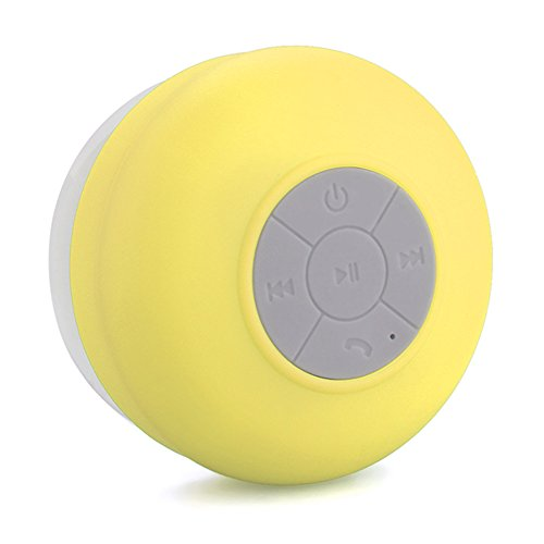 MEMTEQ® Portable Waterproof Bluetooth V3.0 + EDR Shower Speaker Handsfree Speakerphone with Suction Cup Suitable for Car, Bedroom, Wash Room, Kitchen, Office, Conference, Business Trip, Vacation Etc (Yellow)