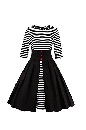 Des années 1950 Vintage Half Sleeve Stripes Patchwork Swing robe femmes