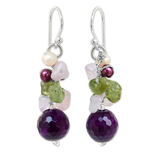 NOVICA Dyed Cultured Freshwater Pearl Cluster Earrings with Agate, Quartz and Peridot, Princess Legend'