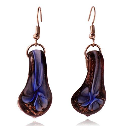 - Glass Tear Drop Flower Earrings (Black/Blue)