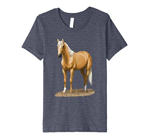 Kids Beautiful Palomino Quarter Horse T-shirt 6 Heather Blue
