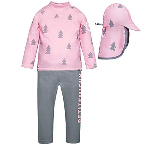 (Little Kids Girls Boys 3 Pieces Flamingo Long Sleeve Full Body Rash Guard UPF 50+ UV Swimsuits Set with UV Sun Hats Pink-Gray )