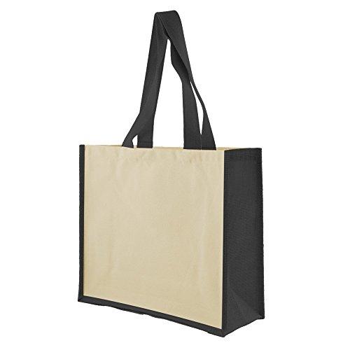 Shugon - Bolso shopper de yute modelo Veranasi de dos tonos Beige/Negro