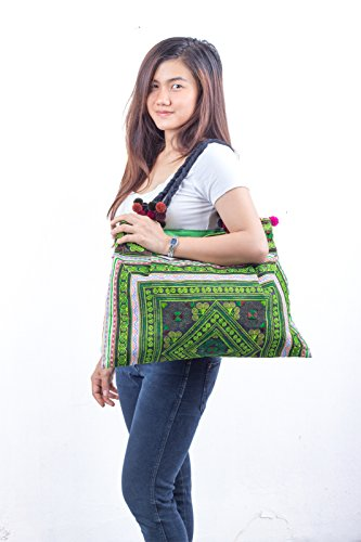 Fabric Embroidered Size Tribes Large Tote Hmong Hill Unique Bag Green Changnoi WZ0cPP
