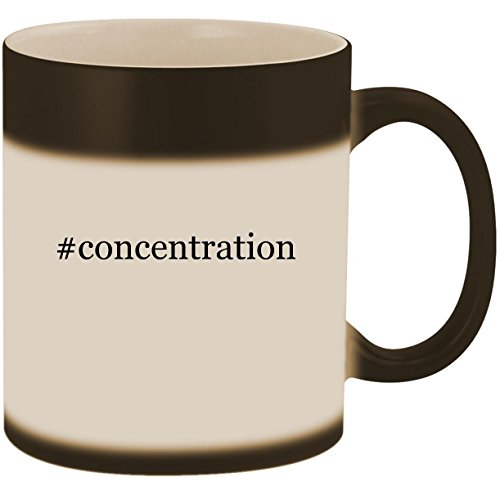 (#concentration - 11oz Ceramic Color Changing Heat Sensitive Coffee Mug Cup, Matte Black)