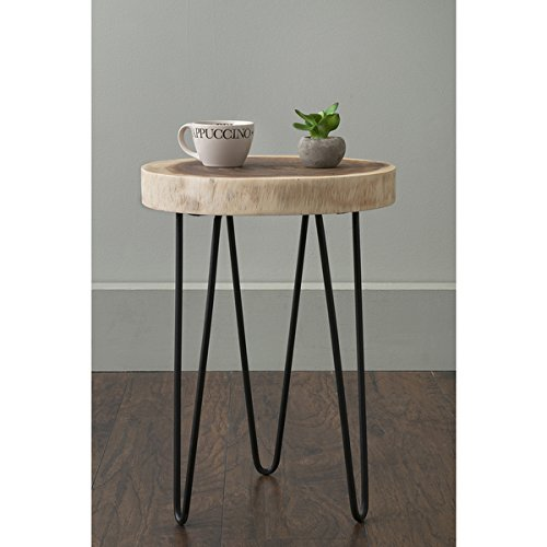East At Main's Laredo Brown Teakwood Round Accent Table - Teakwood Console