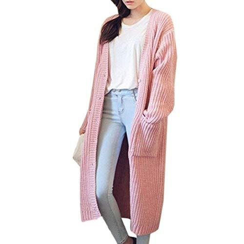 Con Tempo A Lunghe Cappotto Grazioso Button Libero Giacca Fashion Lunghi Maniche Relaxed Pullover Eleganti Donna Tasche Maglia Stlie Outerwear Rosa Monocromo Autunno XSq7X
