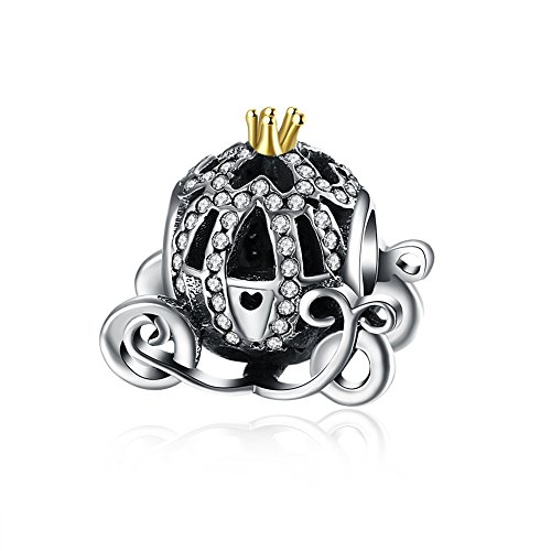 IVYRISE Exquisite Cinderella Carriage Fine Jewelry Making Charms 925 Sterling Silver Beads fit Pandora (Cinderella Heart Charm)