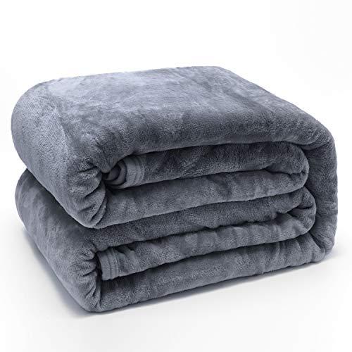 PHOENIX HOME TEXTILES Luxury Soft Flannel Fleece Bed Blanket Warm Fuzzy Lightweight Plush Microfiber Couch Throw (Queen, Light Grey) ()