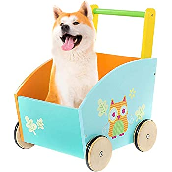 labebe - Baby Walker, Kids Shopping Cart, Toddler Wagons, Push Toys for 1-3 Year Old, Mini Wood Pram/Owl/New/Blue/Early/Infant/Doll/Balance/Girl Boy First ...