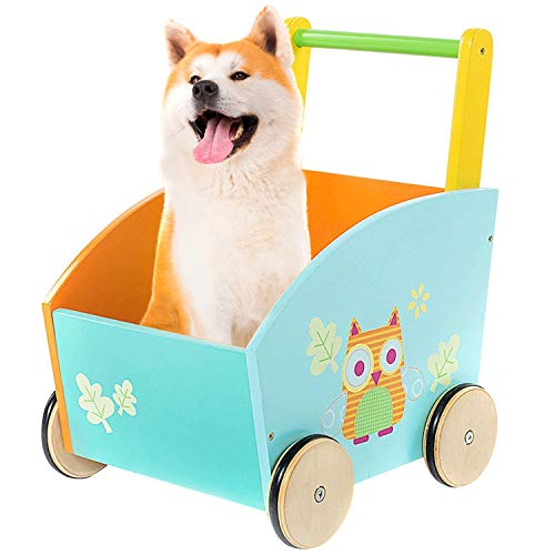 , Kids Shopping Cart, Toddler Wagons, Push Toys for 1-3 Year Old, Mini Wood Pram/Owl/New/Blue/Early/Infant/Doll/Balance/Girl Boy First Stroller/Learning/Sit-to-Stand/Activity ()