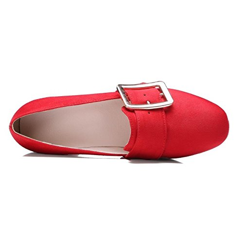 COOLCEPT Mujer Moda Hebilla Acento Irlandes Bombas Zapatos Tacon Medio Ancho Boca Baja Zapatos Pequeno Tamano Rojo