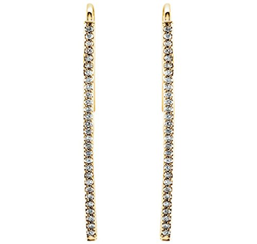 Diamond Vertical Bar Earrings (14K Yellow Gold 1/4 CTW Diamond Accent Vertical Bar Earrings for Women)