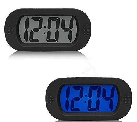 Sveglia Digitale LCD, Moon mood Mattina Orologio da Scrivania Tavolo Snooze Allarme Clock Elettronica Desktop Led Alarm Clock con Controllabile Retroilluminazione Cover in Silicone Protettivo Sveglia per Viaggi Casa Bianca Travel Clock