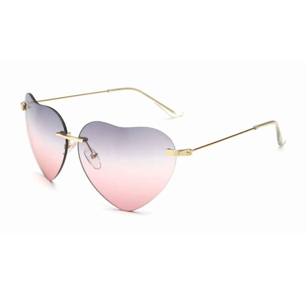Minzhi Herzform Farbe Gradient Lens Randlosbrille Sonnenbrillen Outdoor Brillen Brillen